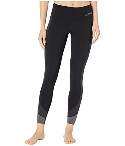2XU Fitness Mid-Rise Line Up Tights (Black/Wave Spot Charcoal) Women