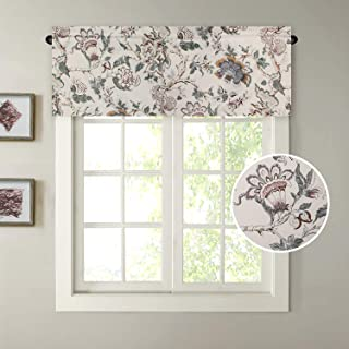 H.VERSAILTEX Window Valance Rustic Style Ultra Soft Material Suits for Kitchen Bath Laundry Bedroom Living Room(58 by 15 inch, Vintage Floral Pattern in Sage and Brown, Set of 1
