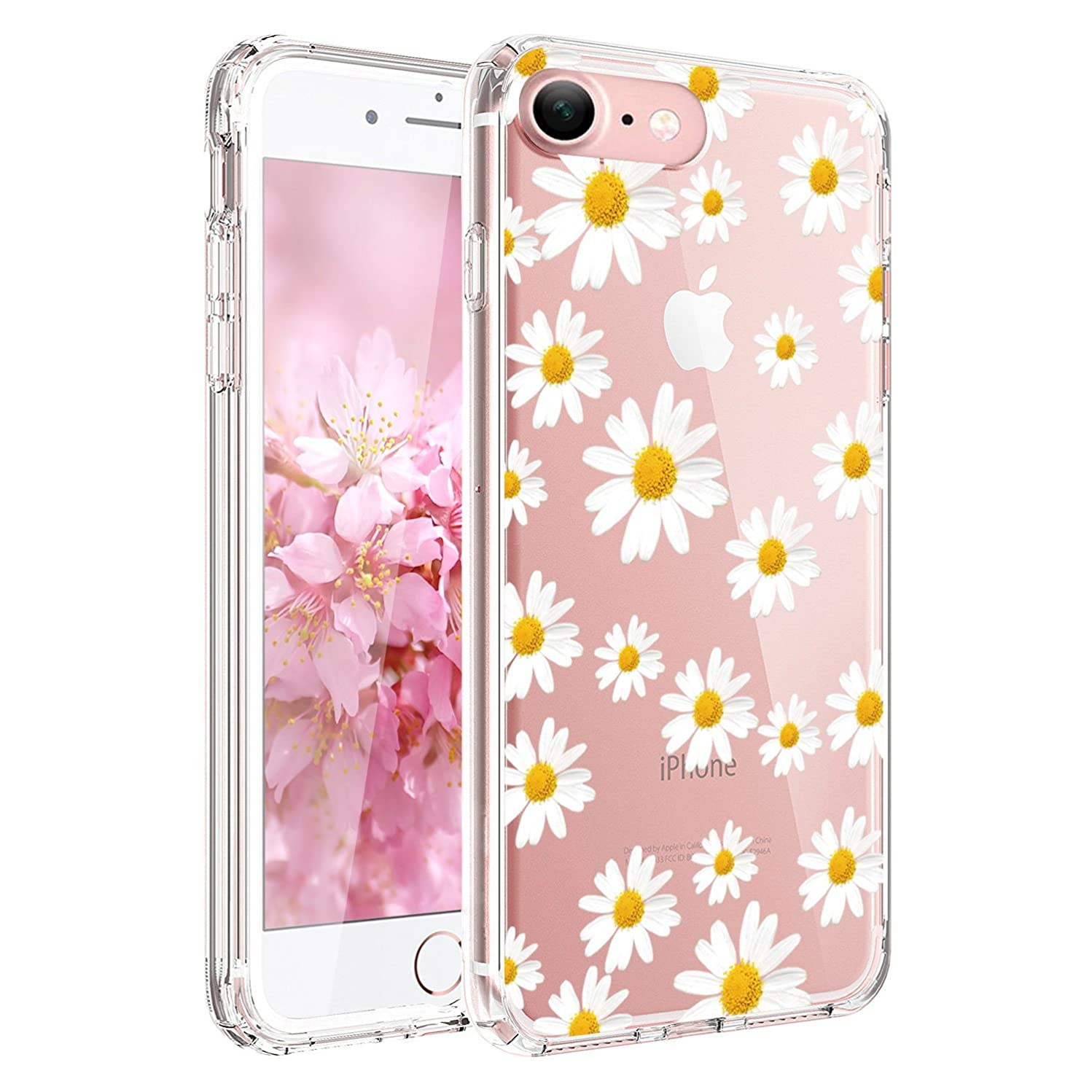 JIAXIUFEN Clear Slim Shockproof Flower Floral Design Soft Flexible TPU Silicone Back Cover Phone Case Compatible with iPhone 6 and iPhone 6S - Little Daisies
