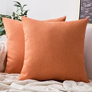 MIULEE Pack of 2 Decorative Plaids Woven Pillow Cover Checked Soft Solid Square Weave Throw Pillow Sham Home Decor Design Cushion Case for Sofa Bedroom Car 18x18Inch 45x45 cm Orange