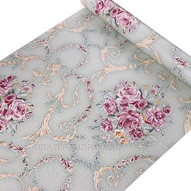 Univocean Pink Floral Self Adhesive Wallpaper, 3D Pattern Washable Peel and Stick Waterproof HD Wallpaper (PVC Vinyl Stickers