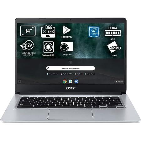"Acer Chromebook 314 - Ordenador Portátil 14"" HD (Intel Celeron N4020, 4GB RAM, 32GB eMMc, Intel UHD Graphics, Chrome OS), Color Plata - Teclado Qwerty Español"