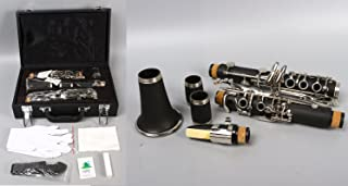 Yinfente - Clarinete profesional de madera de ébano B Flat C Key 2 barriles con estuche de tela