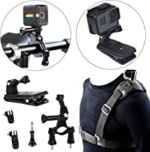 Camera Shoulder Strap with Backpack Clip Mount and Bike Camera Handlebar - 3 in 1 Rotate Clip Video Camera Accessories Kit Compatible with GoPro Hero 7 6 5 4 3+ Sj5000 SJ4000 Xiaomi yi Cam
