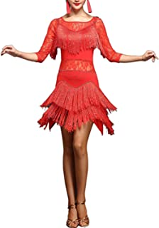 Lace Fringes Dance Recital Salsa Latin Tango Dress Costume with Sleeves