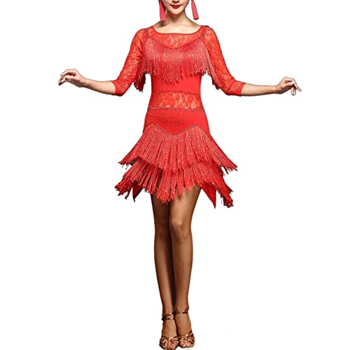 33298c38f107 Whitewed Lace Fringes Dance Recital Salsa Latin Tango Dress Costume with  Sleeves