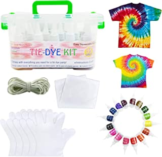 15 colors Tie dye kit with Gloves and Table Covers, tie-dye textile colors for kids adults clothes shirts bags dresses cap...