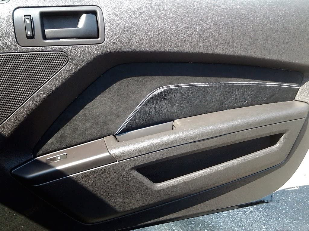 RedlineGoods Door Insert Covers GT Style v.1 Compatible with Ford Mustang 2010-14 Black Leather-Black Thread