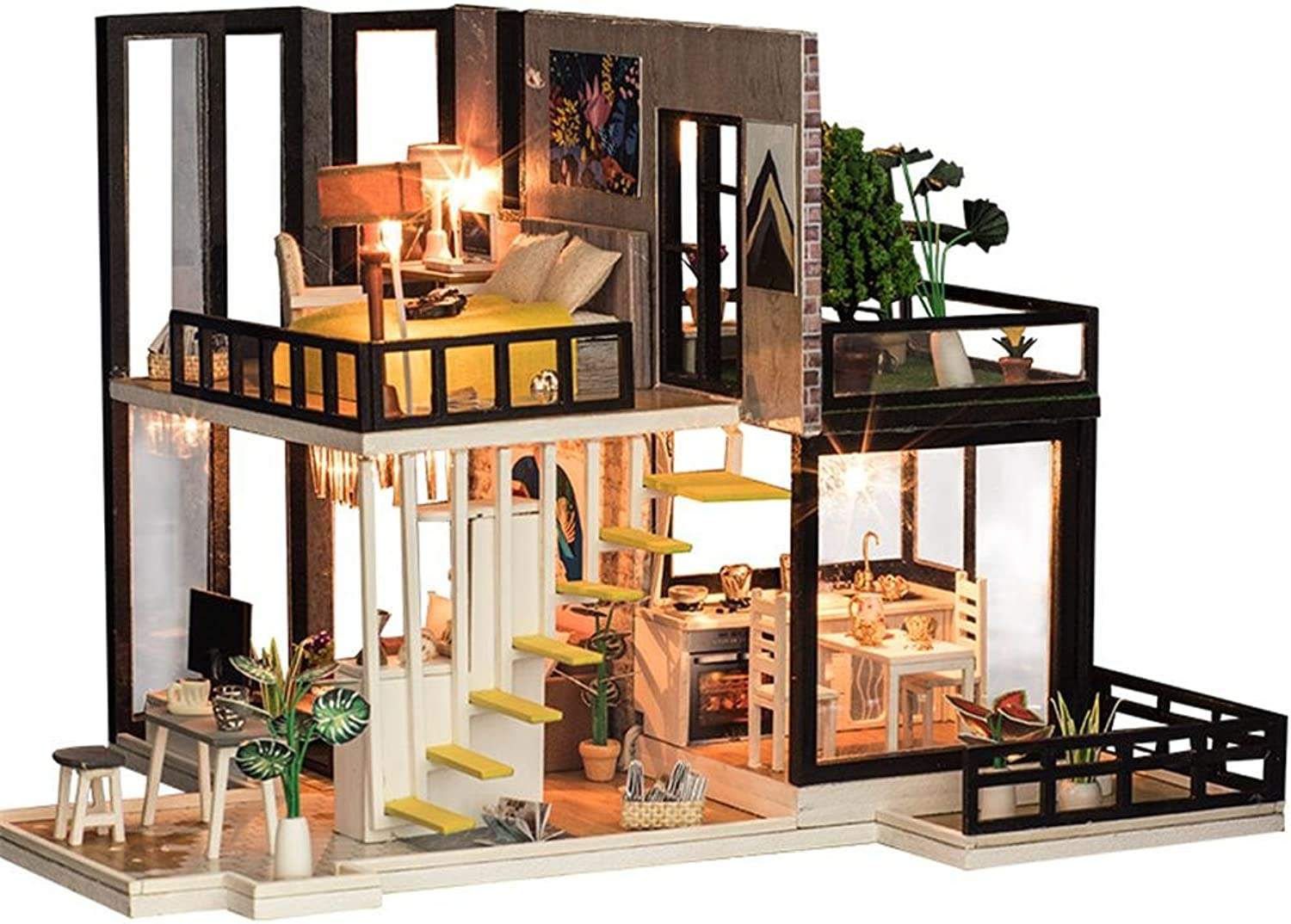 Doll House Miniature with Furniture Creative Model DIY Small Doll House without Dust Cover&Making Tool