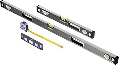 WORKPRO W002901A 4-Piece Measuring Tool Set, Torpedo, Spirit Level, Tape Measure with Carrying Bag