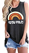 Hount Women's Loose Fit Tank Tops Good Vibes Rainbow Casual Sleeveless and Long Sleeve Blouse Shirt