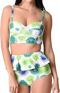 American Trends Womens Plus Size Bikini Set Retro Vintage Floral Swimwear High Cut Bathing Suit Swimsuit