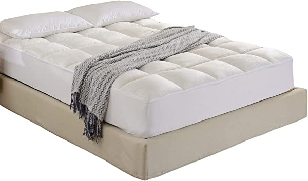 Cheer Collection Super Luxurious Ultra Soft Overfilled Microplush Fitted Mattress Topper King
