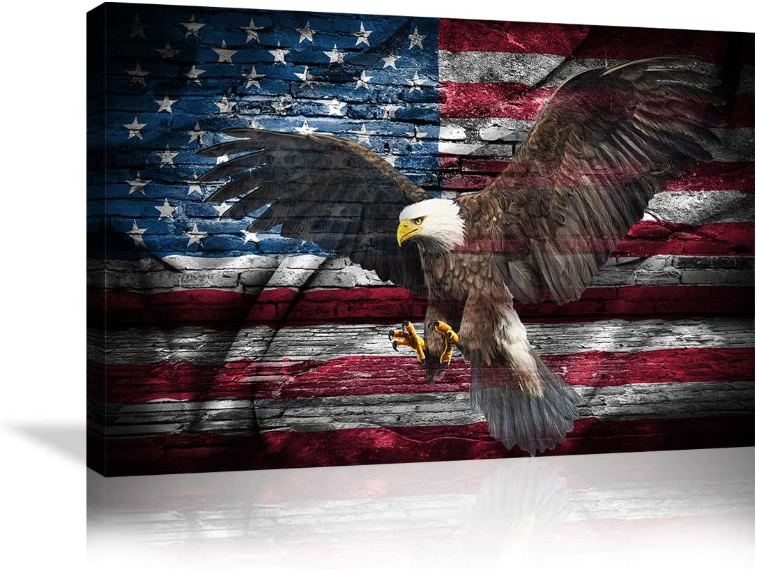shop Large Poster Retro American Flag Super special price Bald Eagle US Military Wall Art