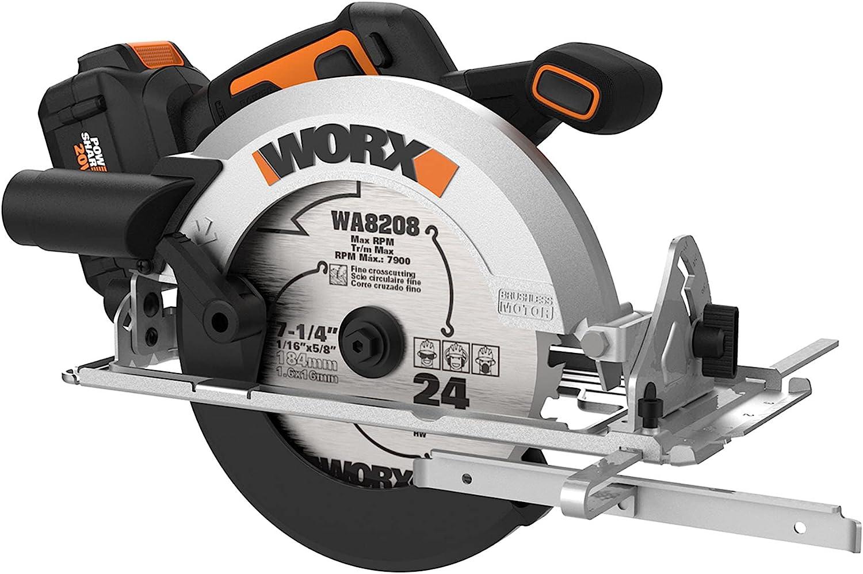 Worx Nitro WX520L 20V Finally resale start Power 4.0Ah Ranking TOP13 Cordless Circular Share 7.25