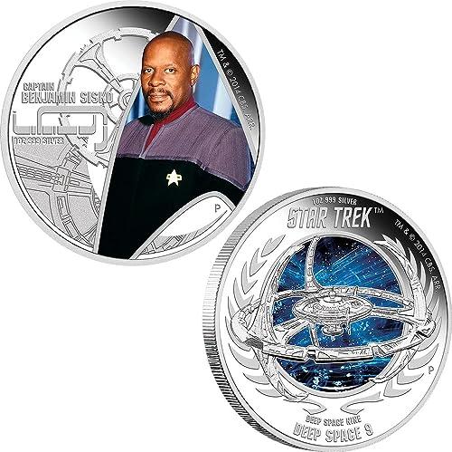 promociones de equipo Power Coin Coin Coin Captain Benjamin Sisko Deep Space Nine Space Station Star Trek Two Moneda plata Set 1  Tuvalu 2015  Hay más marcas de productos de alta calidad.