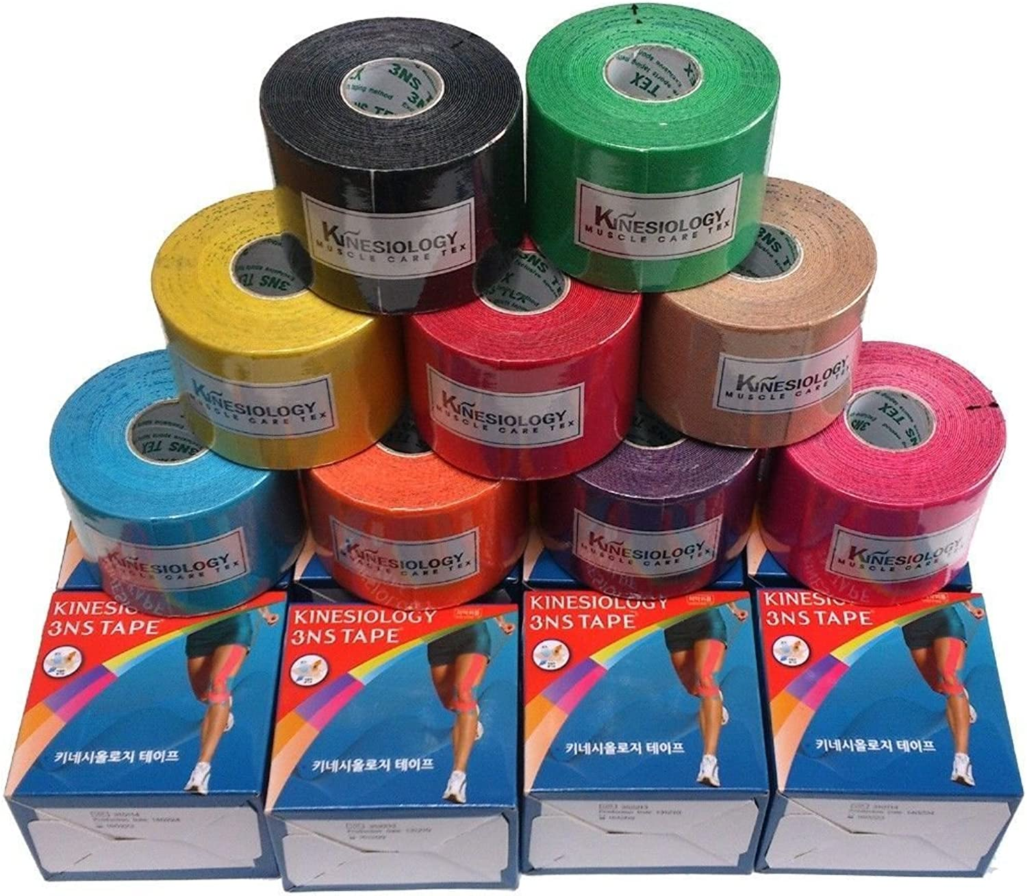 12 rolls  3NS TEX Kinesiology Muscle Care Sports Tape (612 days by USPS)