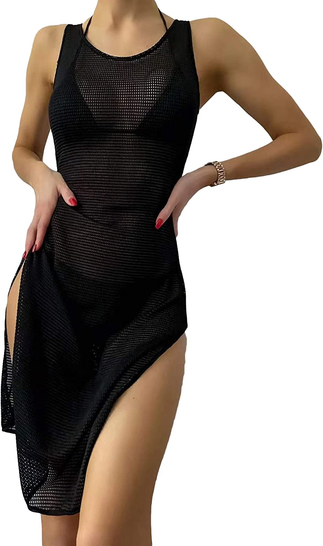 Verdusa Women's Split Side Sleeveless Round Neck Mesh Swimwear Cover Up