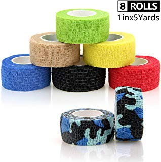 AUPCON Vet Wrap Cohesive Bandages Self Adherent Bandage Wrap Self Adhesive Bandage Self Adherent Bandage Non-Woven Tape for Pet Animal First Aid and Fingers & Toes 1in x 5 Yards