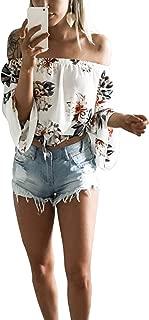 Women's Off Shoulder Flare Sleeve Elastic Pullover Crop Top