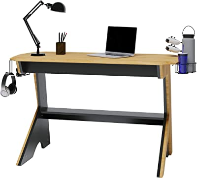 Techni Mobili Home Office Computer Writing Desk Workstation with Two Cupholders and a Headphone Hook-Pine