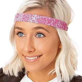 Hipsy Women's Adjustable NO Slip Wide Bling Glitter Headband