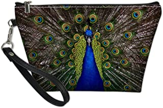 Bigcardesigns Travel Make-up Bags Peacock Print Zipper Organizer Cosmetic Purse Waterproof PU Leather Toilet Pouch Personality