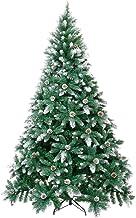 Winregh 4,5,6,7.5 Foot Artificial Christmas Tree Snow Flocked Hinged Pine Cone Decoration Unlit, Metal Pine, Snow Tree, 6FT