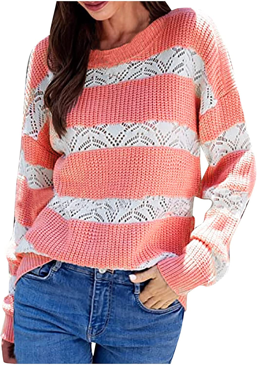Womens O-Neck Knitted Sweater Striped Color Block Long-Sleeved Hollow Tops Autumn Plus Size Loose Tunics