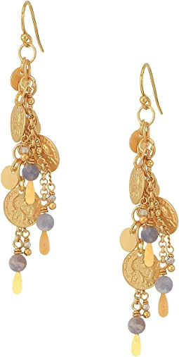 Chan Luu - Dangle Coin and Chain Earrings with Semi Precious Stones
