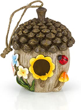 Dawhud Direct Acorn Cottage Decorative Hand-Painted Bird House