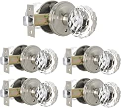 5 Pack Heavy Duty Privacy Door Knobs Genuine Clear Glass Door Knobs, Interior Door Handle for Bedroom Bathroom, Locked Inside - Superb Appearance with Square Collins Rosette