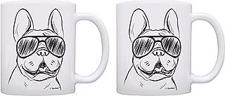 French Bulldog Mug Set Frenchie Sunglasses Dog Themed Gifts 2 Pack Gift Coffee Mugs Tea Cups White