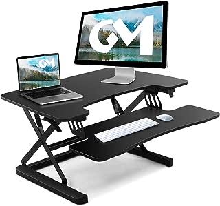 GOODMETAL Standing Desk Converter - 32 inches Infinite Height Adjustable Desktop Stand Up Desk Riser Computer Workstation, Sit Stand Desk-Edge Board
