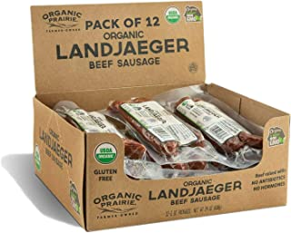 Organic Prairie 100% Grass Fed Beef Landjaeger Sausage, Keto Snacks, 2oz (Pack of 12)