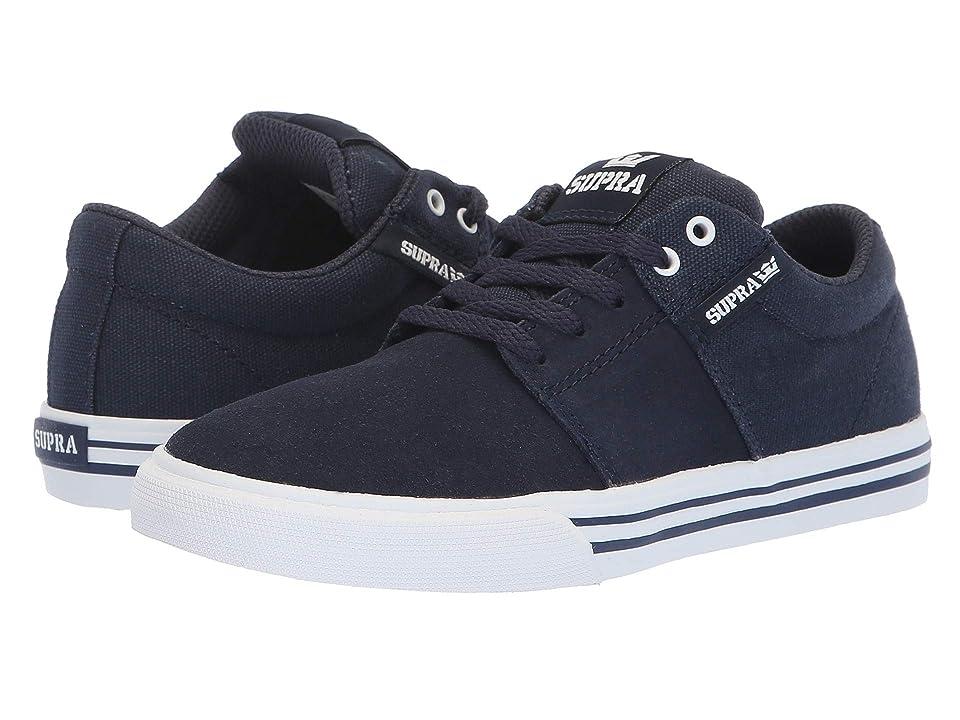 Supra Kids Stacks Vulc II (Little Kid/Big Kid) (Navy/White) Boys Shoes