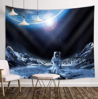 Space Tapestry, Outer Space Tapestry Wall Hanging, Modern Outer Space Tapestry, Astronauts Walking on The Moon Surface Cosmic Galaxy Tapestry Dormitory Living Room Bedroom 59x78inch-SZDR