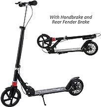 Hikole Adult Scooter Upgrade | Adjustable Height, Hand Disc Brake + Rear Fender Brake, Foldable, Lightweight Aluminium Alloy Commuter Big Wheels Scooter for Adults Teens