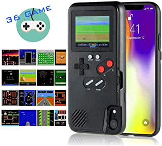 Gameboy iPhone Case Handheld Game Console Case Protective Cover, AISALL Gameboy Phone Case for iPhone 6/7/8 Plus iPhone X XR XS Max with 36 Classic Retro Games & Full Color (Black, iPhone XR)