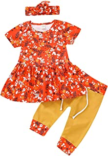 YOUNGER TREE Newborn Baby Girls Dress Infant Toddler Floral Shirt Skirt Pants Set Headband Outfits Clothes