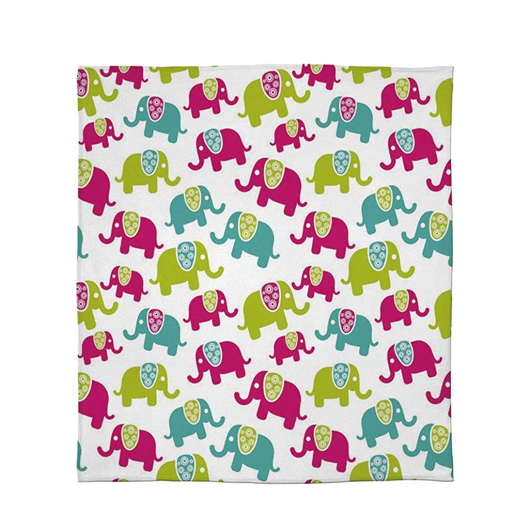 C COABALLA Ultra-Soft Flannel Blanket,Elephant Nursery Decor,for Bed Couch Chair,Size Throw/Twin/Queen/King,Cartoon Cute Elephants with Ornaments Joyous Kids