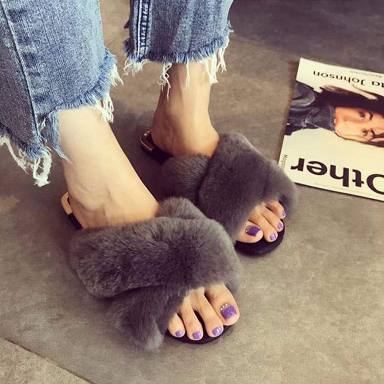 Women Rabbit Fur Slippers Flip Flops Big Real Fur Fashion Slides Flat Slippers Female Fur Slippers Female Fashion Summer Slides