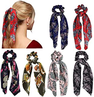6 Pcs Hair Scrunchies Satin Silk Elastic Hair Bands Ponytail Holder Scrunchy Ties Vintage Hair Accessories for Women Girls
