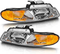 For 96-00 Dodge Caravan 96-00 Chrysler Town and Country 96-00 Plymouth Voyager Van Headlight Assembly Chrome Housing Headlamp Replacement Set, (without Quad Lamps)