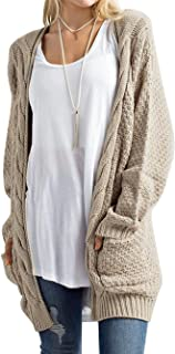 Womens Open Front Chunky Cardigan Quality Cardi Pockets Super Soft Cable Knit Long Sleeve Sweaters Warm Tops