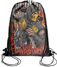 Mortal-Kombat-ScorpioN-Poster- Drawstring Backpack Adjustable Gym Sack Bag