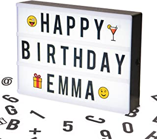 A4 Cinematic LED Light Box Sign, A4 Vintage Style Light Up Message and Note Sign – Personalize your own message with 100 Letters, Smiles & Symbols. Battery and USB Power (1.5m USB Cable Included)