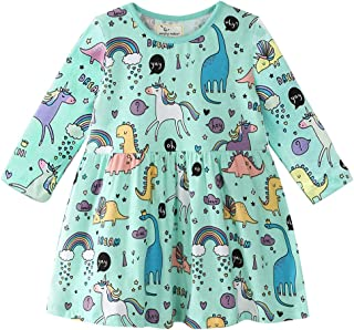 Little Girls Cotton Dress, Long Sleeve A-line Dresses Cartoon Casual Clothes Dress for 1-7Years