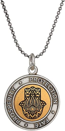 "20"" Two-Tone Hamsa Adjustable Necklace"