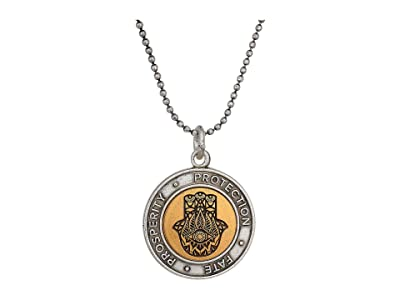 Alex and Ani 20 Two-Tone Hamsa Adjustable Necklace (Rafaelian Silver) Necklace